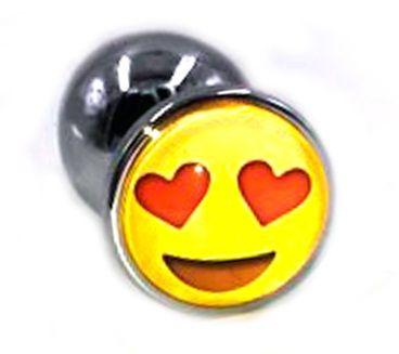 Металлическая анальная пробка с влюбленным смайликом - 7 см. - фото 252405