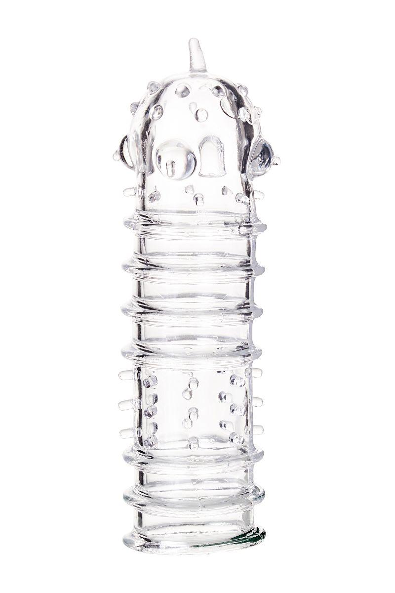 Прозрачная насадка на пенис TOYFA A-Toys с ребрами и точками - 15,3 см. - фото 330245