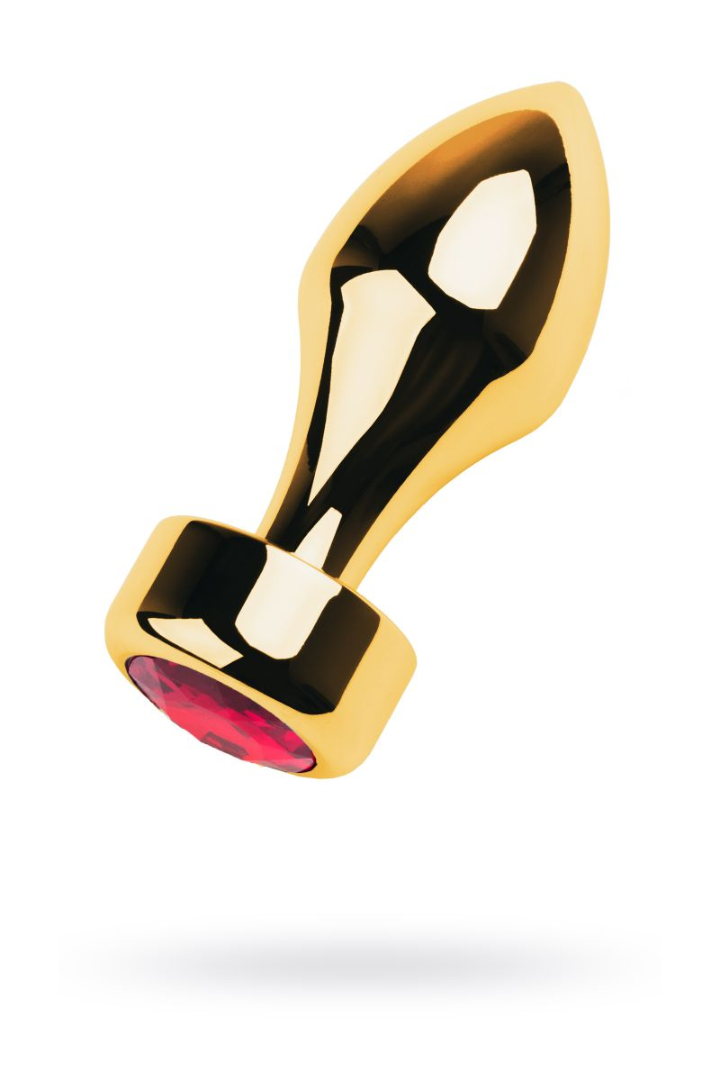 Золотистая каплевидная анальная пробка с красным кристаллом - 9,5 см.