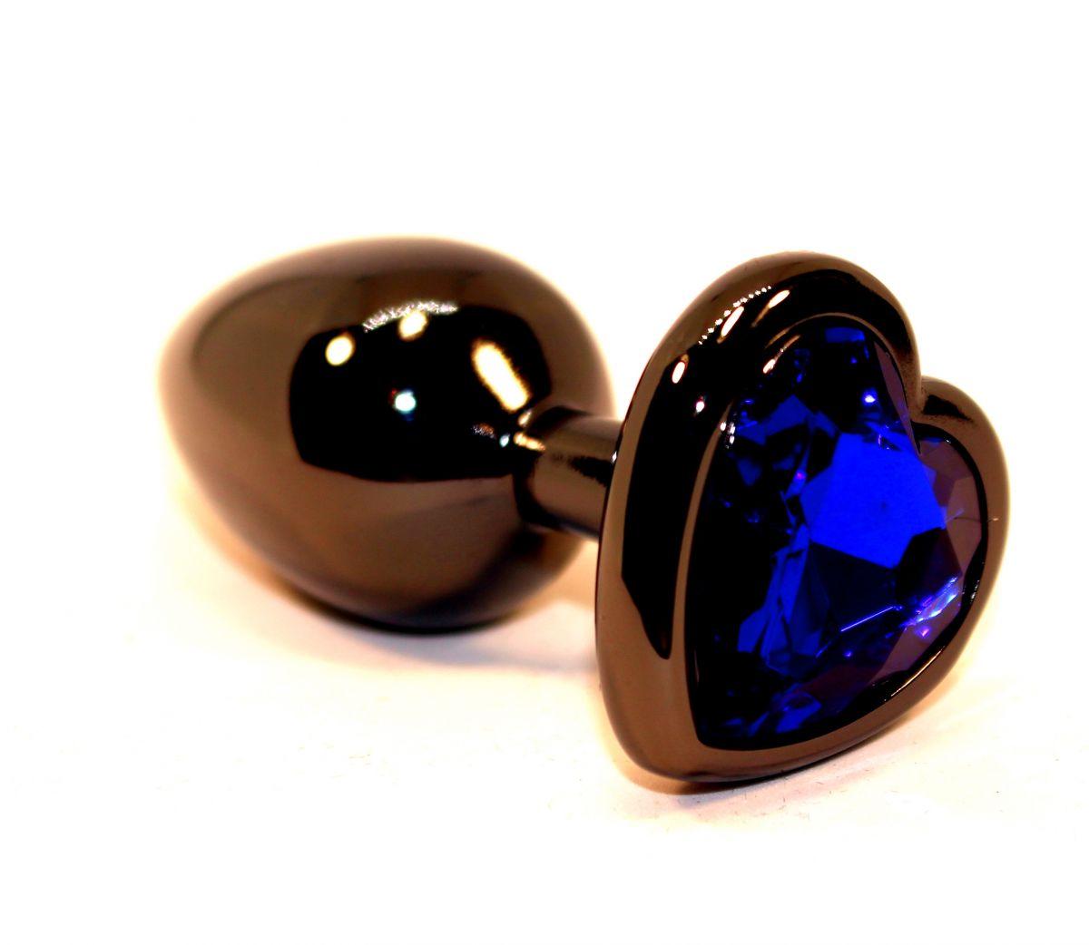 Чёрная пробка с синим сердцем-кристаллом - 7 см. - фото 210435