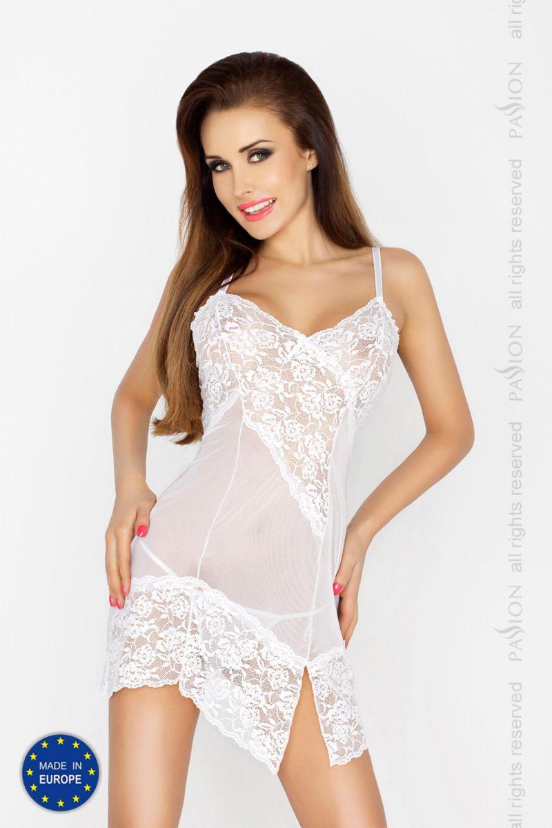 Соблазнительная сорочка с цветочным кружевом и разрезом Amara - фото 165255