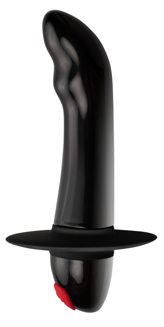 Чёрный массажёр простаты Quest с вибрацией - 11,2 см.