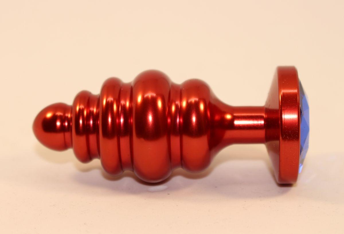 Красная фигурная пробка с синим стразом - 7,3 см. - фото 165658
