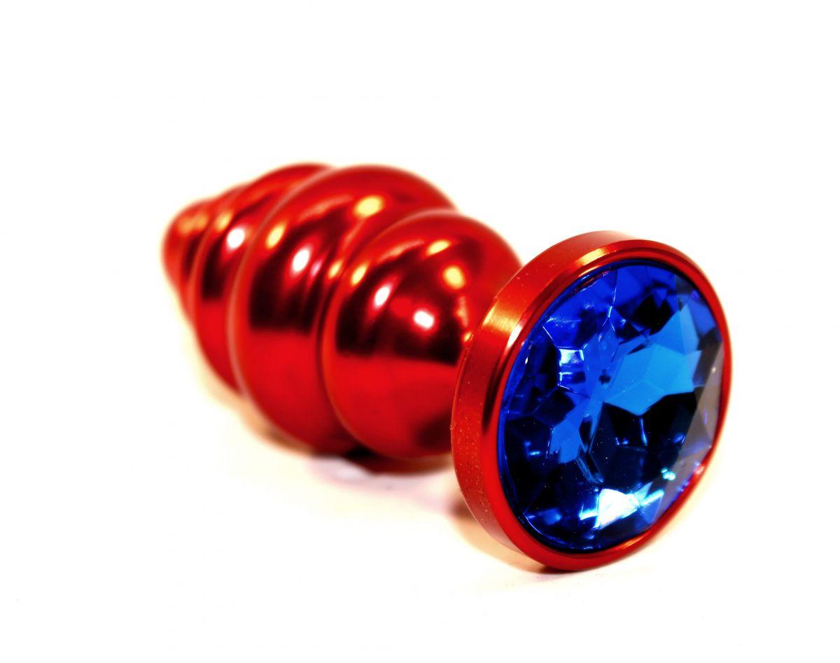Красная фигурная пробка с синим стразом - 7,3 см. - фото 165657