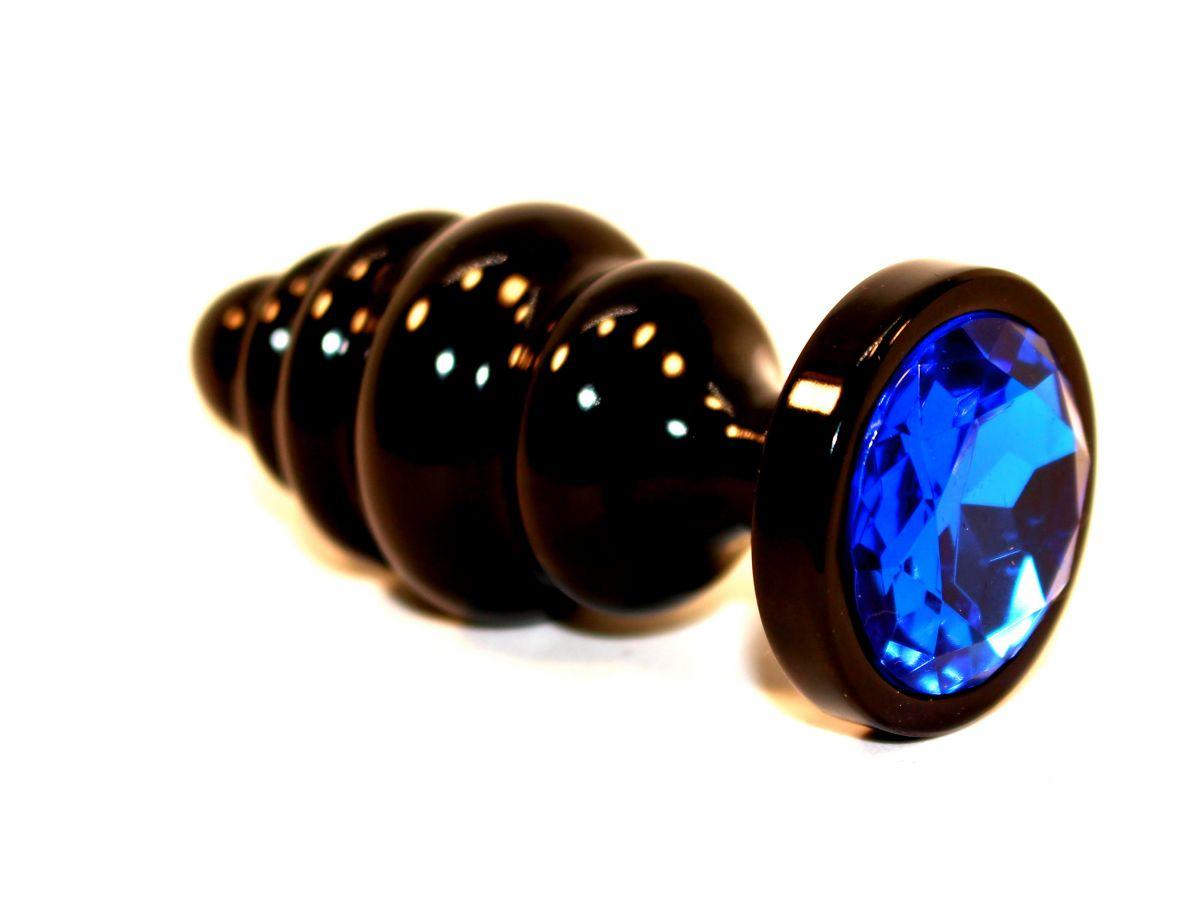 Чёрная пробка с синим стразом - 7,3 см. - фото 210891