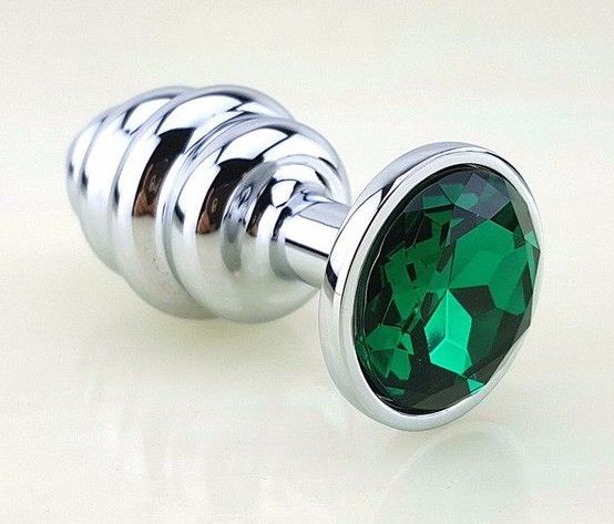 Серебристая фигурная анальная пробка с зеленым стразом - 8 см. - фото 210892