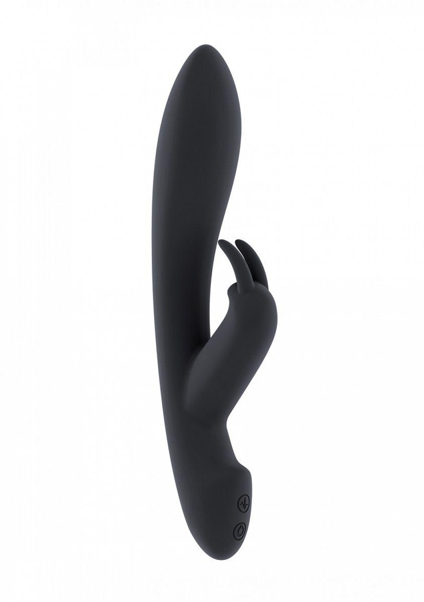 Чёрный вибратор с клиторальным отростком Mila - 22 см.