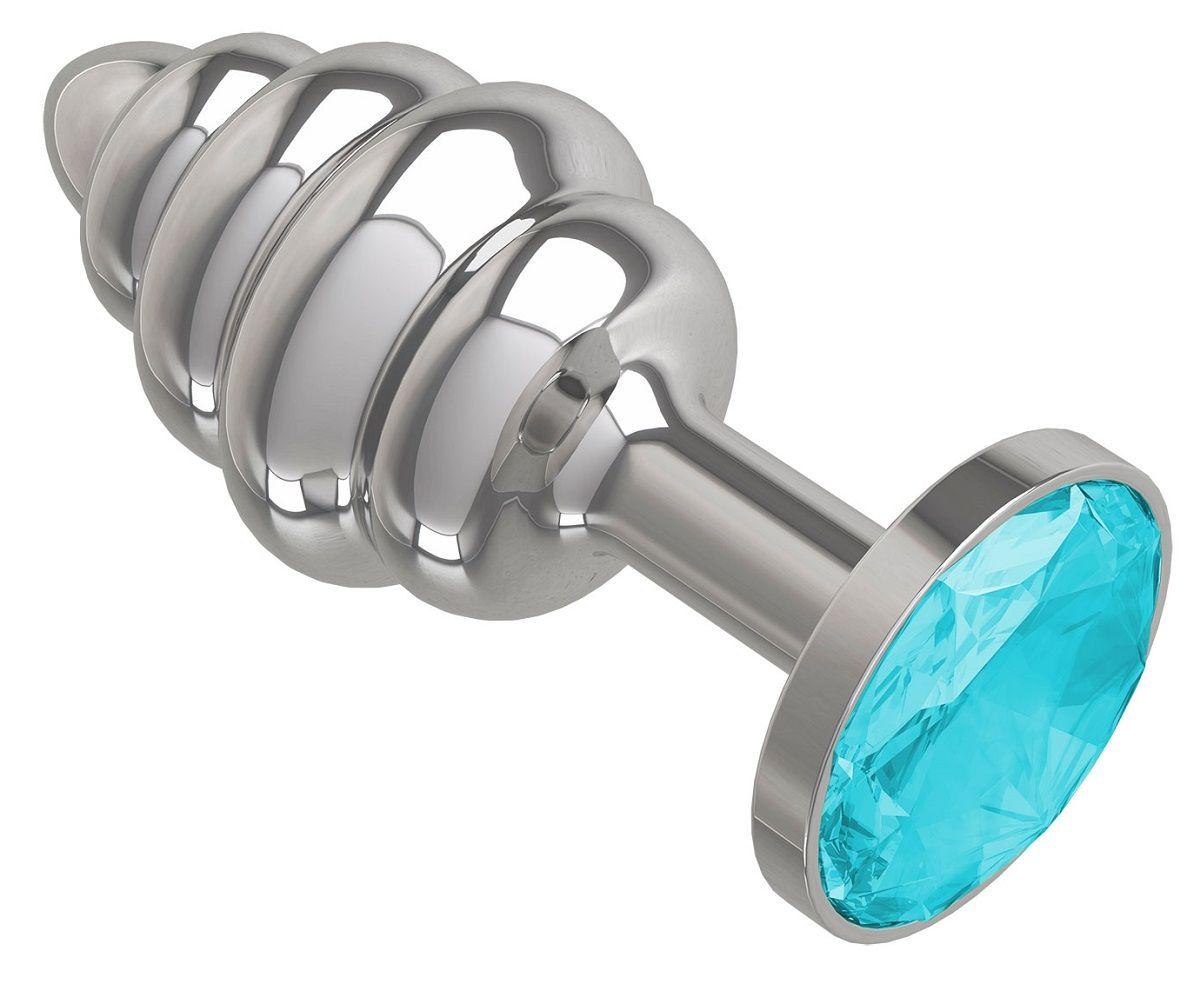 Серебристая пробка с рёбрышками и голубым кристаллом - 7 см. - фото 166024