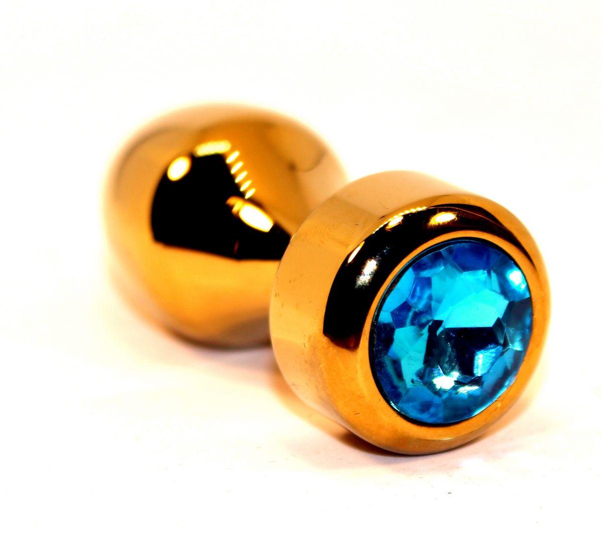 Золотистая анальная пробка с голубым кристаллом - 7,8 см. - фото 211304