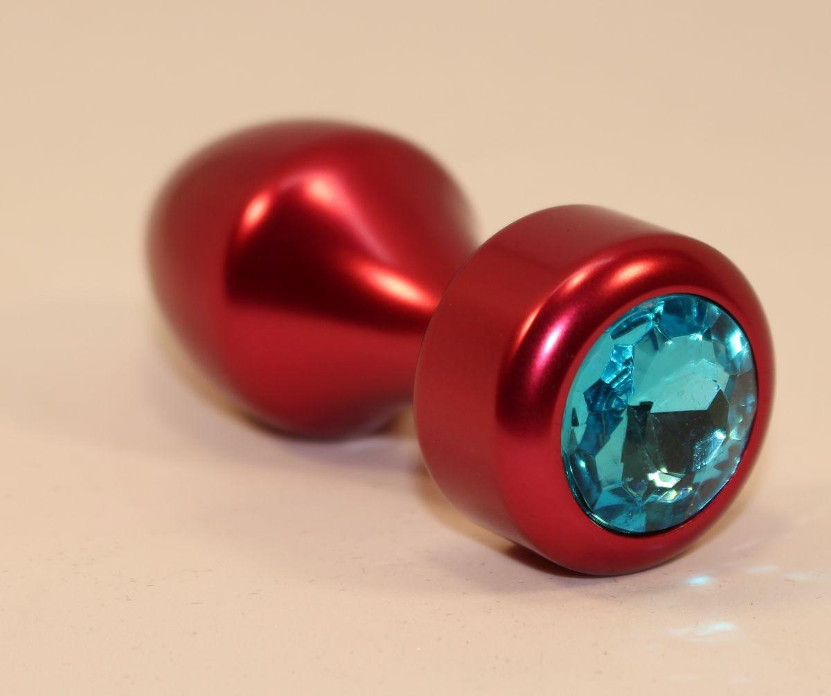 Красная анальная пробка с голубым кристаллом - 7,8 см. - фото 211306