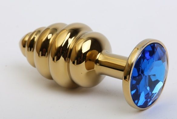 Золотистая рифлёная пробка с синим стразом - 8,2 см. - фото 211319