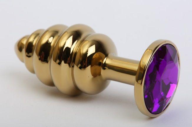 Золотистая рифлёная пробка с фиолетовым стразом - 8,2 см. - фото 150494