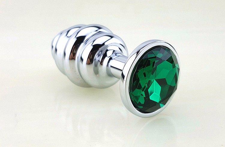Серебристая рифлёная пробка с зеленым кристаллом - 9 см. - фото 211333