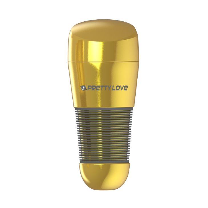 Мастурбатор-анус в золотистой колбе с крышечкой