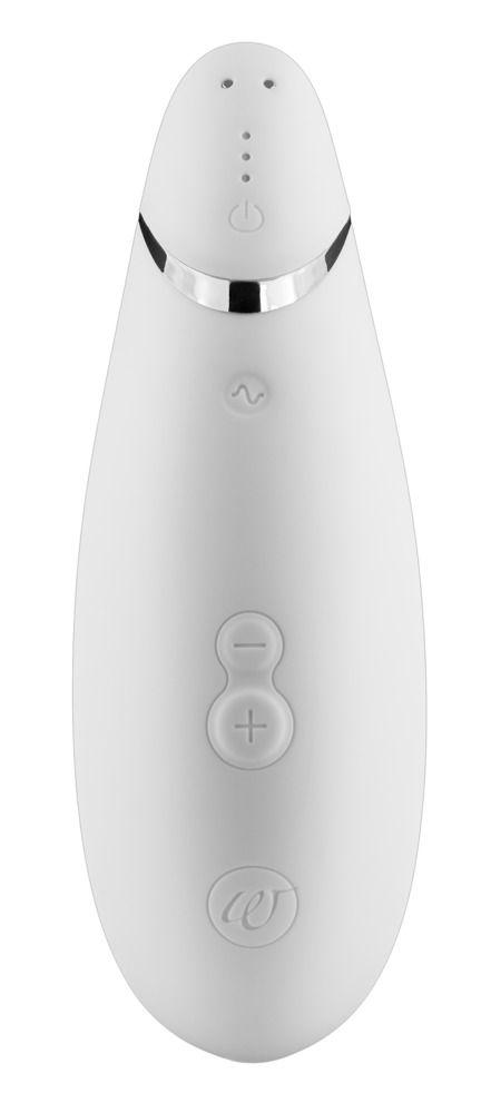 Белый бесконтактный клиторальный стимулятор Womanizer Premium - фото 168598
