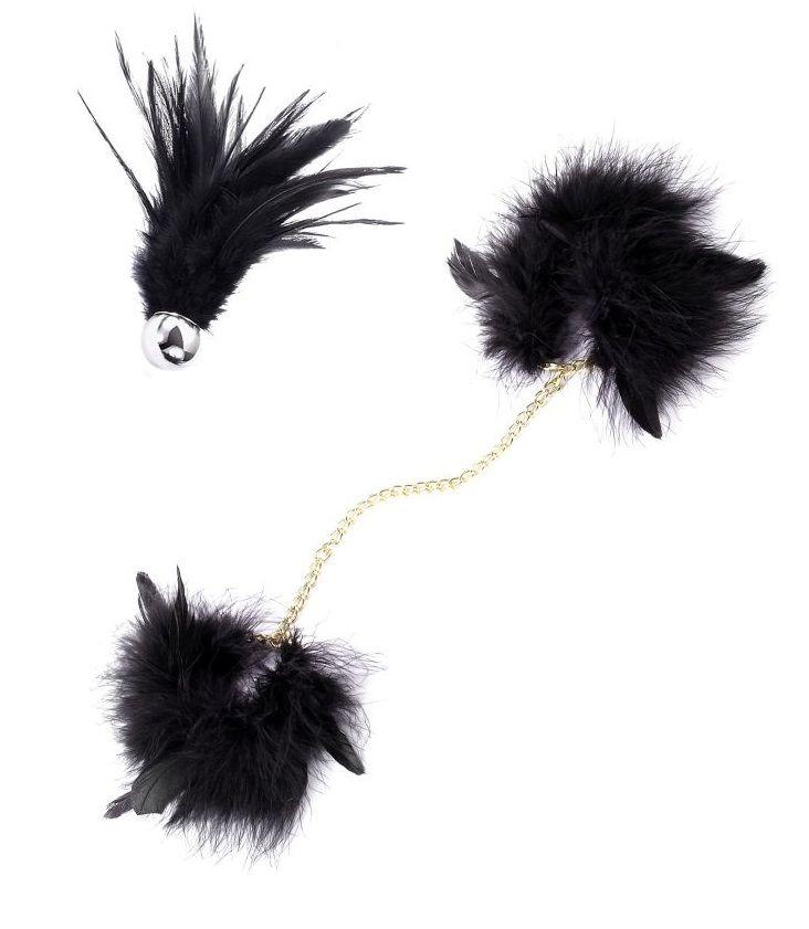 Перьевой эротический набор Romfun - наручники с цепочкой и кисточка-щекоталка