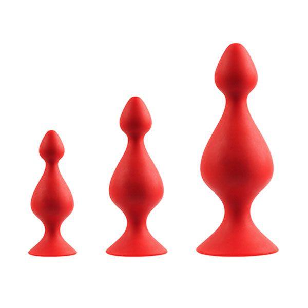 Набор из 3 красных анальных силиконовых втулок MENZSTUFF 3-PIECE ANAL PAWN SET - фото 244256