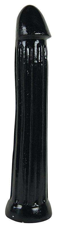 Чёрный фаллоимитатор All Black с рёбрами - 31 см. - фото 168871