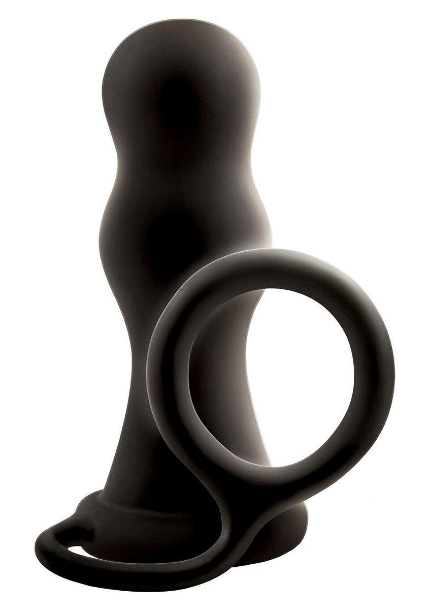 Черная анальная пробка с эрекционным кольцом Renegade Pop   Lock Rambo