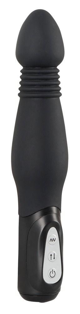 Чёрный анальный вибратор Thrusting Anal Vibe - 23,5 см.