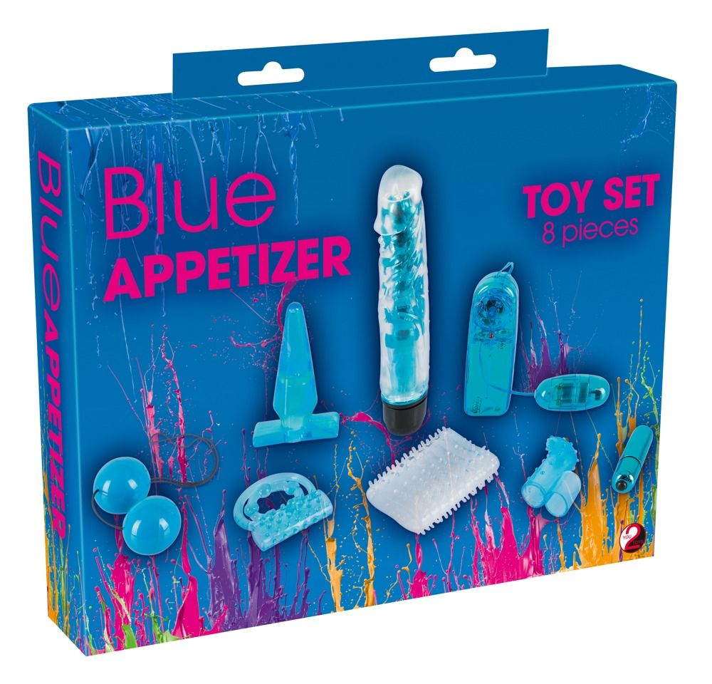 Голубой вибронабор из 8 предметов Blue Appetizer - фото 169674