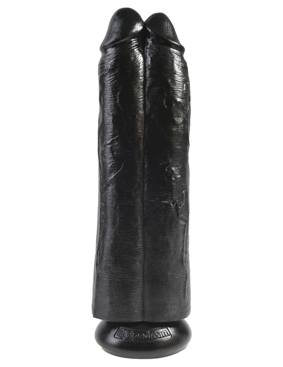 Сдвоенный черный фаллоимитатор на присоске 11  Two Cocks One Hole - 30,5 см.