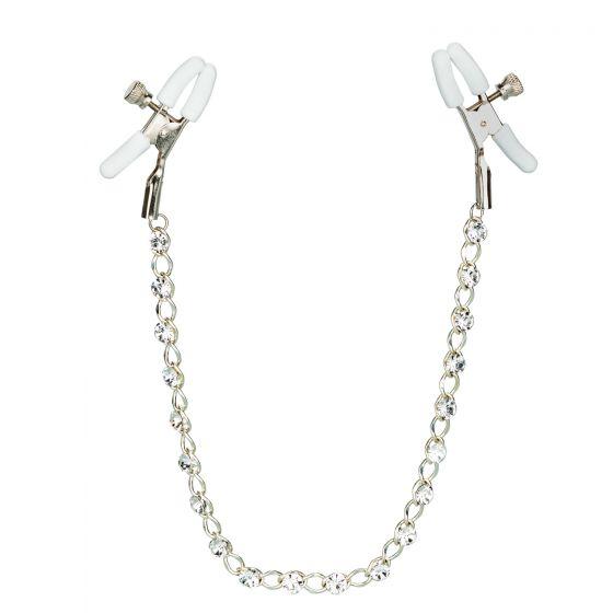 Зажимы на соски с серебристой цепочкой и кристаллами Crystal Chain Nipple Clamps