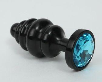 Черная фигурная анальная пробка с голубым кристаллом - 8,2 см.