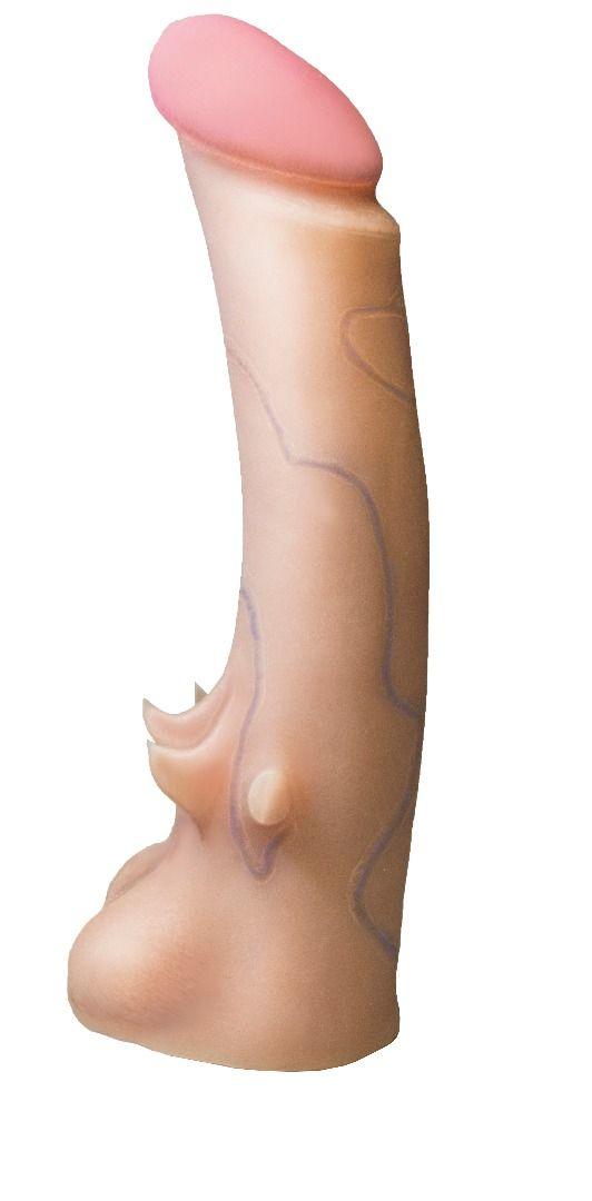 Телесная насадка REAL Standard с усиками на основании - 19 см.