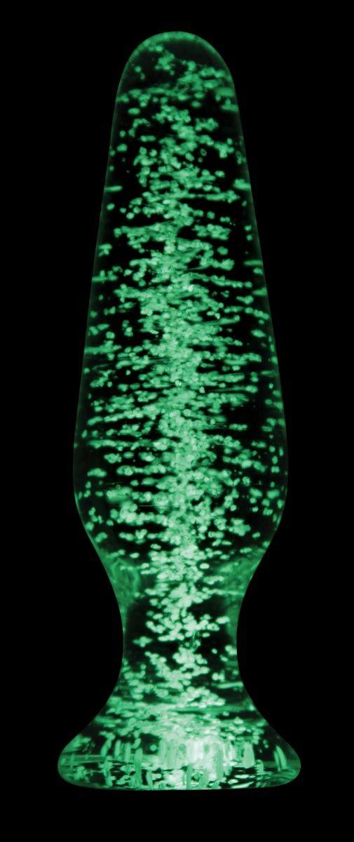 Прозрачная, светящаяся в темноте анальная пробка Glass Tapered Plug - 11,5 см.