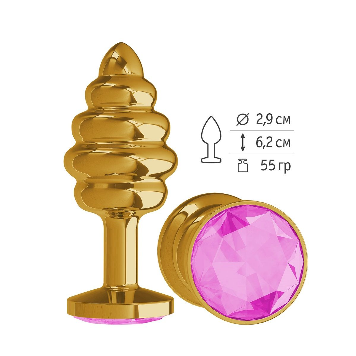 Золотистая пробка с рёбрышками и розовым кристаллом - 7 см.