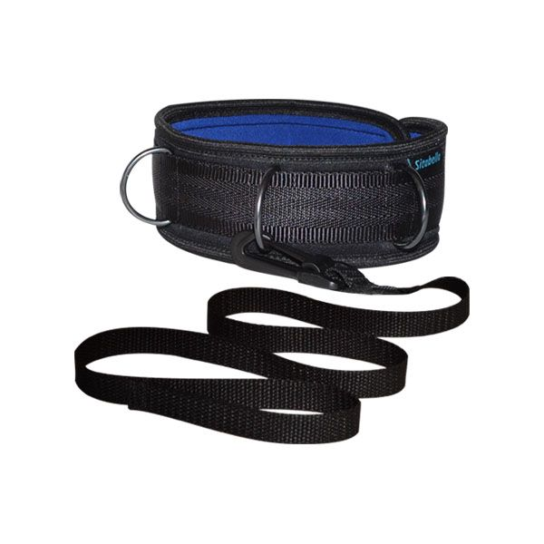 Чёрно-синий ошейник из неопрена с поводком - фото 1182264