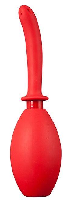 Красный анальный душ с продолговатой изогнутой насадкой