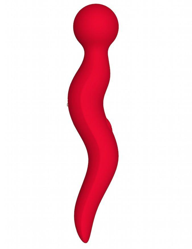Красный жезловый вибромассажёр Cassi - 21 см.