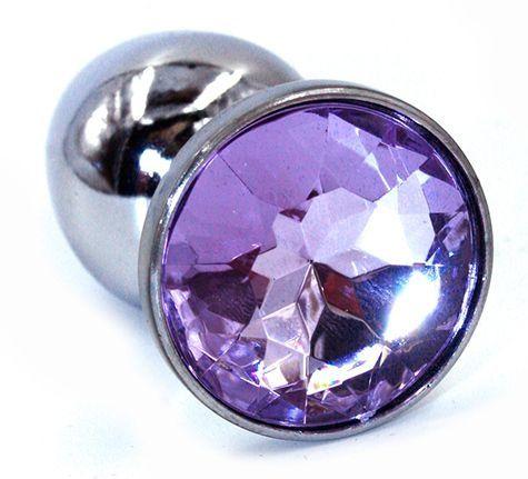 Серебристая анальная пробка с фиолетовым стразом - 7 см. - фото 218938
