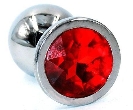 Серебристая анальная пробка среднего размера с красным стразом - 8 см. - фото 218940