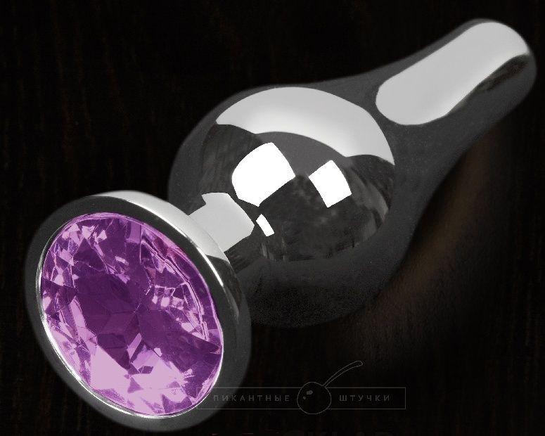Серая анальная пробка с фиолетовым кристаллом - 12 см.