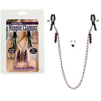 Фиолетовая цепь с зажимами на соски Purple Chain Nipple Clamps
