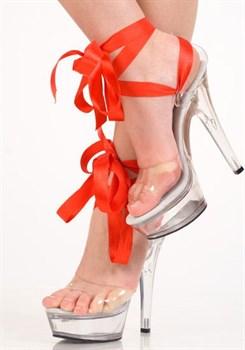 Туфли прозрачные с красной лентой