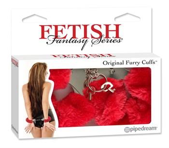 Меховые красные наручники Original Furry Cuffs