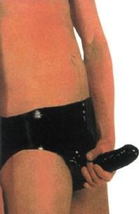 Мужские трусики из латекса с полостью для полового члена и внутренней анальной пробочкой Peni Pants