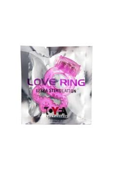 Розовое эрекционное кольцо с вибратором и подхватом