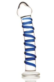 Фаллоимитатор из стекла с синей спиралью - 18 см.