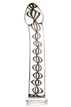 Стеклянный фаллос  со внутренними спиралями - 18 см.
