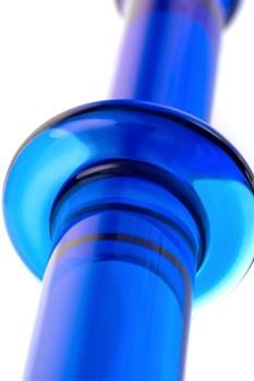 Гладкий анальный фаллос синего цвета - 25 см.