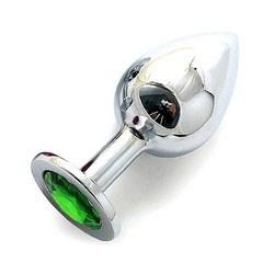 Анальная пробка BUTT PLUG  Large с светло-зеленым кристаллом - 9,5 см.