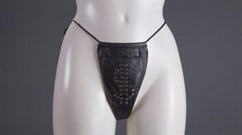 Женские кожаные трусы с кармашком