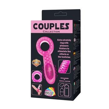 Нежно-розовое эрекционное кольцо с вибратором