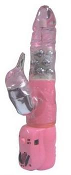 Розовый вибратор-ротатор  LURE COCK  с клиторальным стимулятором