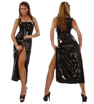 Длинное платье из винила